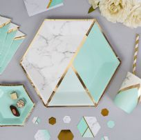 Mint Marble Large Paper Plates (8)